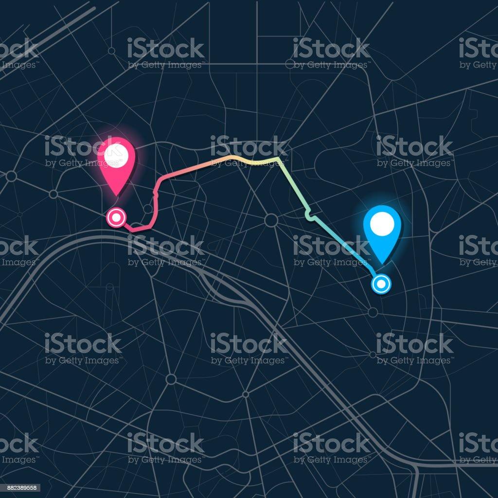 navegación mapa de ciudad - ilustración de arte vectorial