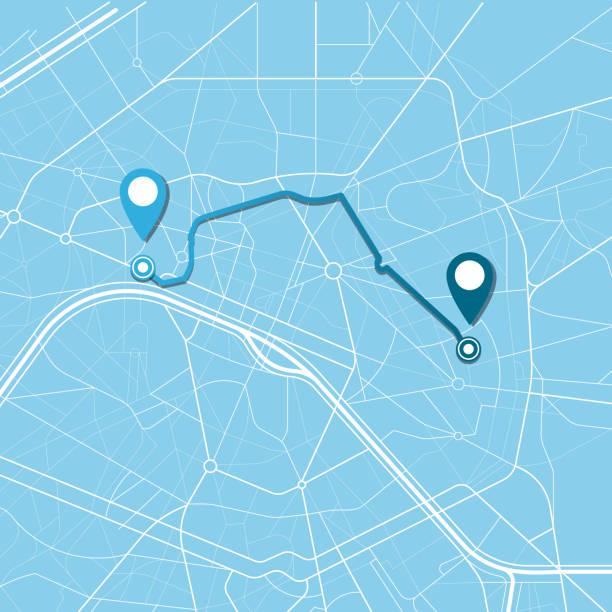 stockillustraties, clipart, cartoons en iconen met stad kaart navigatie - roadmap