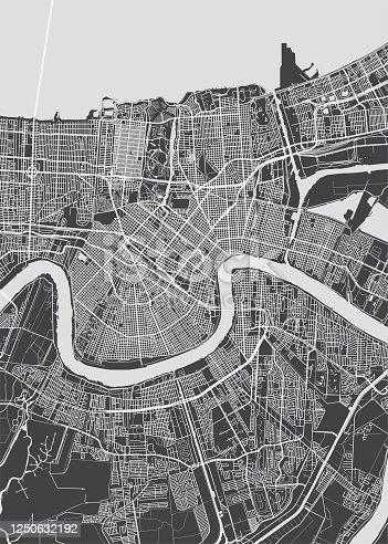 City map New Orleans, monochrome detailed plan, vector illustration