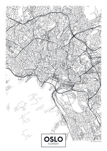 stockillustraties, clipart, cartoons en iconen met stadskaart oslo, reizen vector poster design - oslo