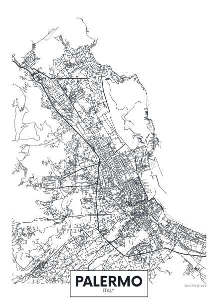 illustrazioni stock, clip art, cartoni animati e icone di tendenza di city map palermo, travel vector poster design - palermo città