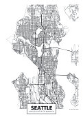 City map Seattle, travel vector poster design detailed plan of the city, rivers and streets