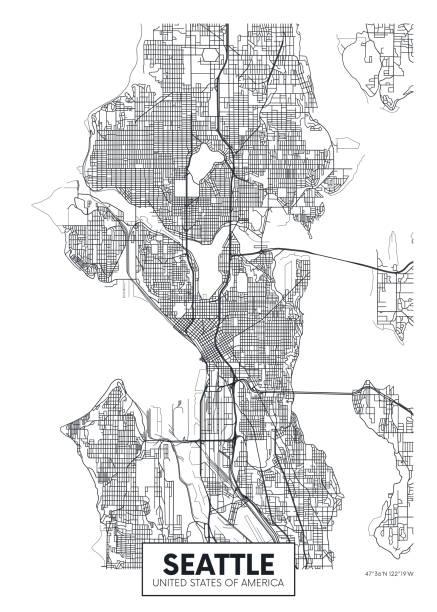 ilustraciones, imágenes clip art, dibujos animados e iconos de stock de mapa de la ciudad seattle, diseño de cartel de vector de viaje - seattle