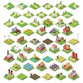 Flat 3d Isometric Farm Buildings City Map Icons Game Tiles Elements Set. NEW bright palette Rural Barn Buildings Isolated on White Vector Collection. Assemble Your Own 3D World