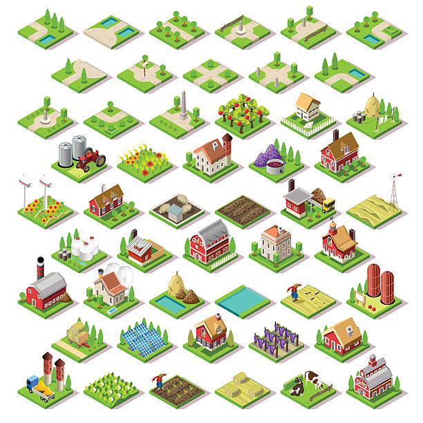 city map set 03 tiles isometric - kırsal manzara stock illustrations