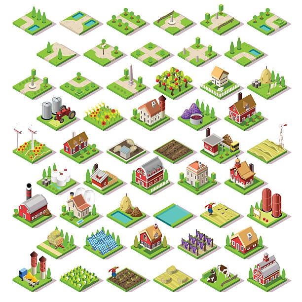 stadtplan-set 03 fliesen isometrische - flat icons stock-grafiken, -clipart, -cartoons und -symbole