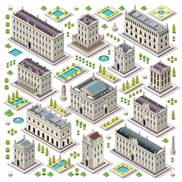 City Map Set 06 Tiles Isometric vector art illustration