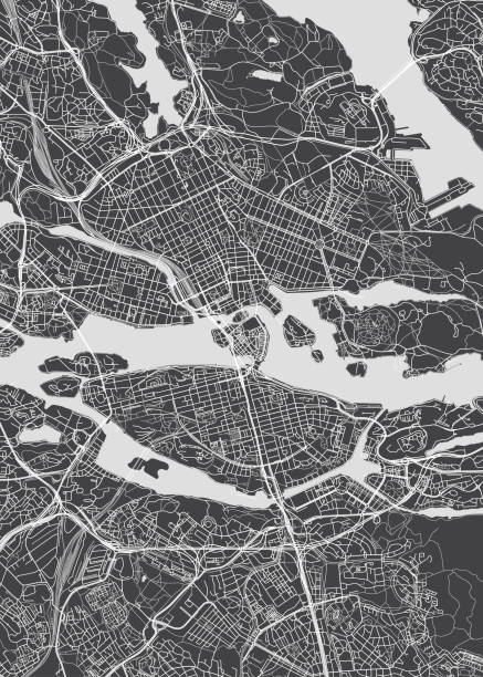 bildbanksillustrationer, clip art samt tecknat material och ikoner med stadskarta stockholm, svartvit detaljplan, vektorillustration - stockholm overview