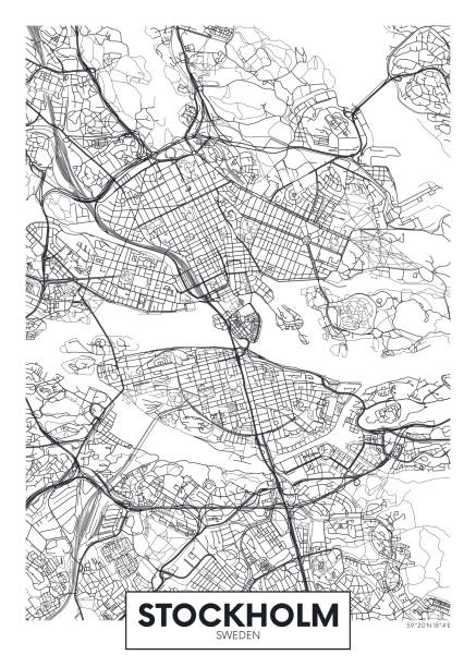 bildbanksillustrationer, clip art samt tecknat material och ikoner med stads karta stockholm, rese vektor affisch design - stockholm overview