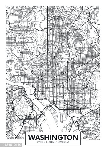 City map Washington, travel vector poster design detailed plan of the city, rivers and streets