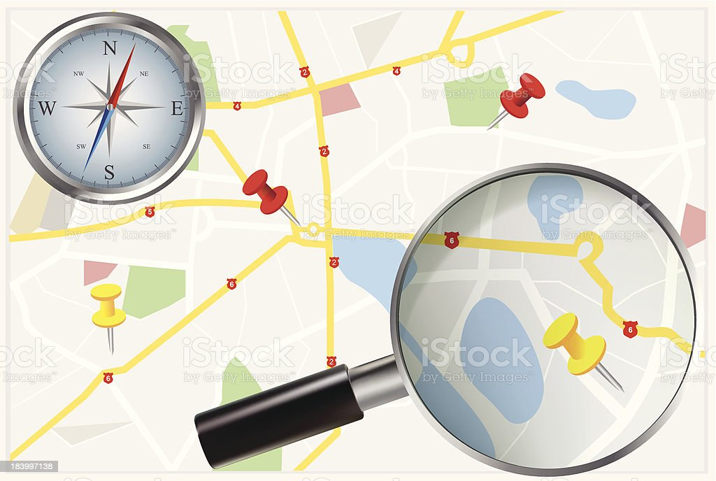 City Map with compass and loupe royalty-free city map with compass and loupe stock vector art & more images of backgrounds