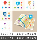 EPS 10. Vector illustration of a folded map of an imaginary city with icons and pin template.