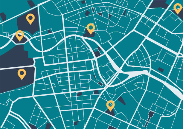 City map with navigation icons Generic Location, Map, City Map, Road Map, City global positioning system stock illustrations