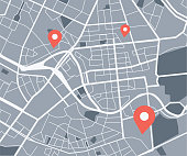 istock City map with navigation icons 1253824520