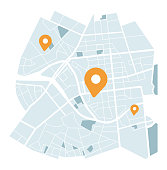 istock City map with navigation icons 1267502766