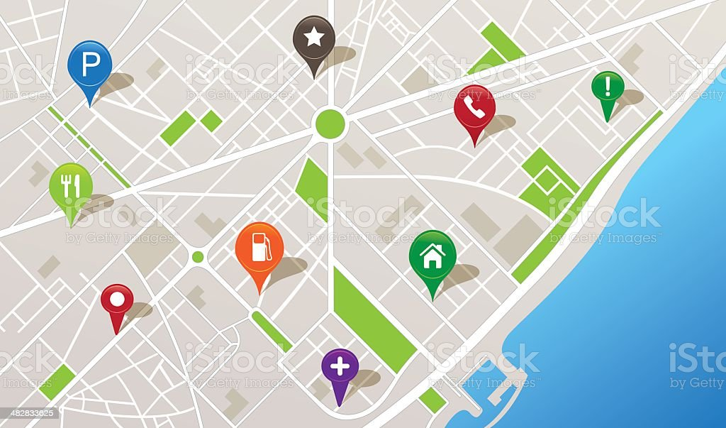 City map with navigation icons vector art illustration