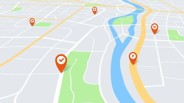 stadtplan mit pins. farbkartographie stadtplan perspektivisch mit roten navigationszeigern auf der route. stadtentwicklungsvektorkonzept - karte navigationsinstrument stock-grafiken, -clipart, -cartoons und -symbole