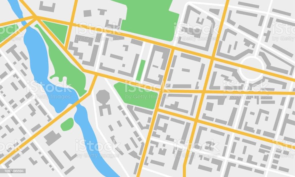 City Map With Streets Roads Parks And River Gps And Navigation ... Park City Town Map on