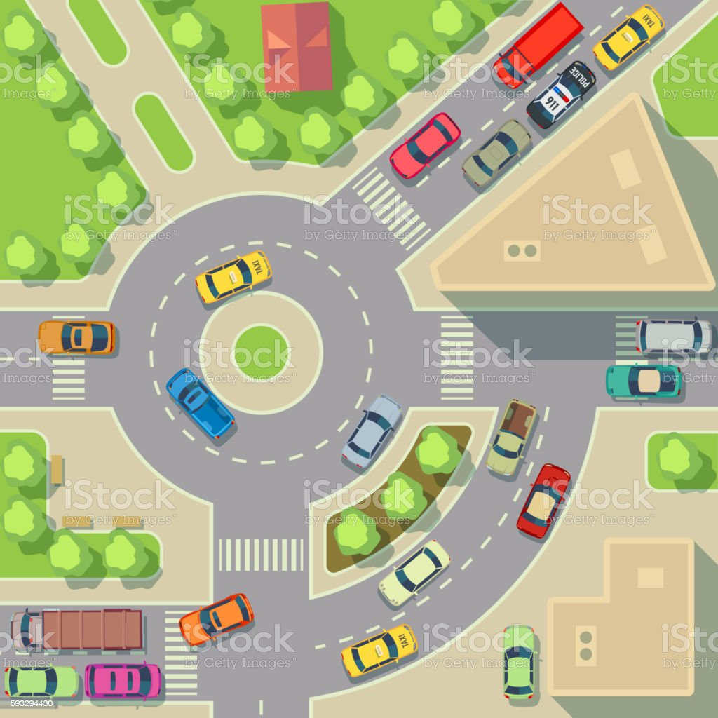 City map with top view cars and houses vector illustration vector art illustration