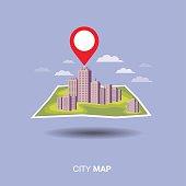 city map,pin, flat design