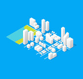 City Maps Concept 3d Isometric View Positioning Location on a Blue Background. Vector illustration of Map Elements