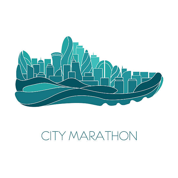 city marathon. run concept. sport vector illustration - sportschuhe stock-grafiken, -clipart, -cartoons und -symbole