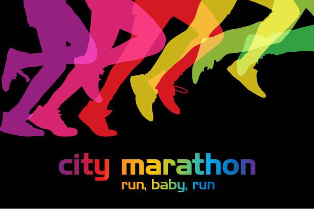 ilustrações de stock, clip art, desenhos animados e ícones de city marathon - young woman running city