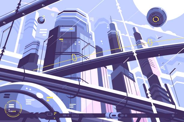 city metropolis of future - futurystyczny stock illustrations