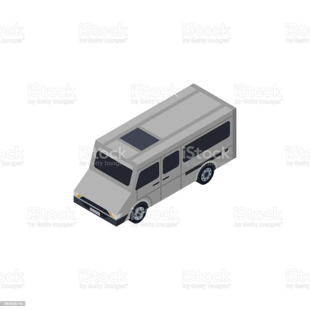 City minibus isometric 3D element royalty-free city minibus isometric 3d element stock vector art & more images of car