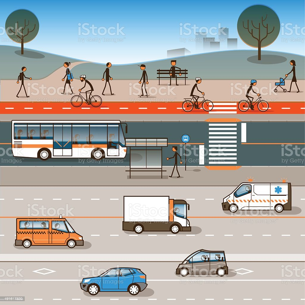 Cidade, para pessoas com deficiência de mobilidade - ilustração de arte em vetor