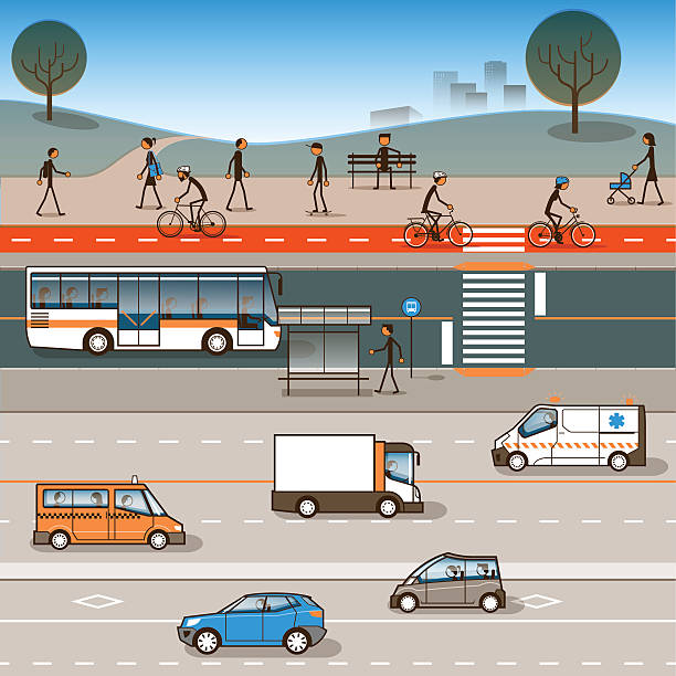 City mobility Moving around on a healthy city. Infographic showing mobility hierarchies for a cleaner, safer, more efficient urban environment. Global colors. bus rapid transit stock illustrations
