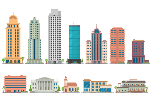 City modern buildings flat illustration isolated on white background. City landscape with skyscrapers. Offices, school, bank, church, club, motel, apartments. Vector eps 10. clipart