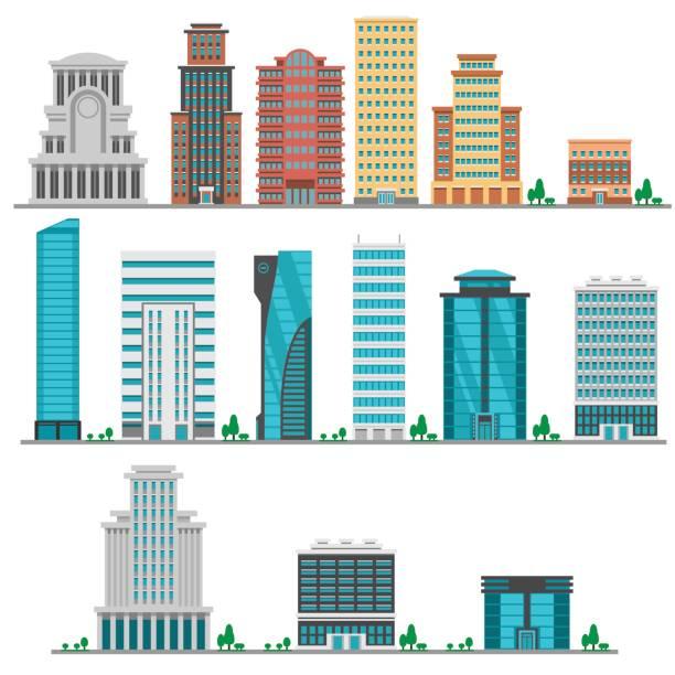 ilustrações, clipart, desenhos animados e ícones de modernos edifícios de cidade planos - arranha céu
