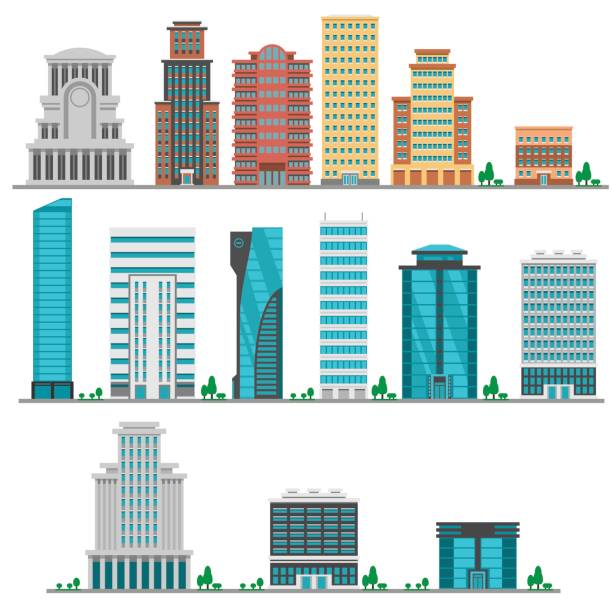 City modern flat buildings City modern flat buildings set in vector skyscraper stock illustrations