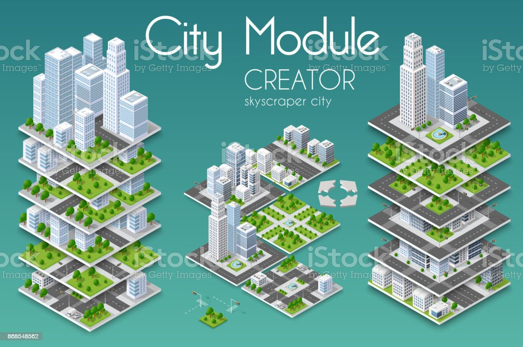City module creator vector art illustration