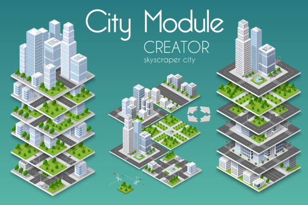 City module creator vector art illustration