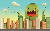 A giant monster attacks the city.