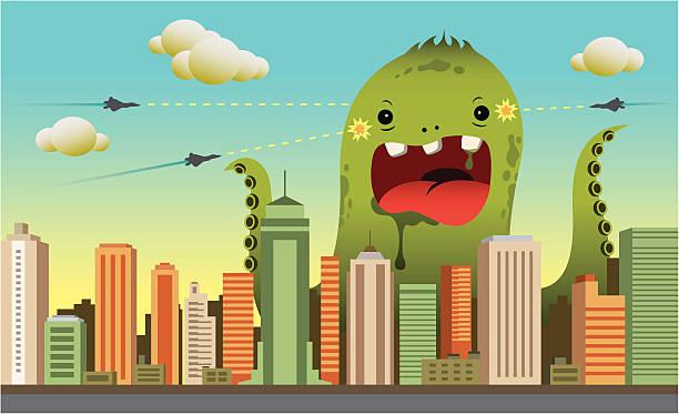 city-monster - cartoon monster stock-grafiken, -clipart, -cartoons und -symbole