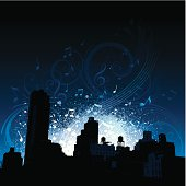 City scene at night with music notes, motifs and grunge splatters in background.