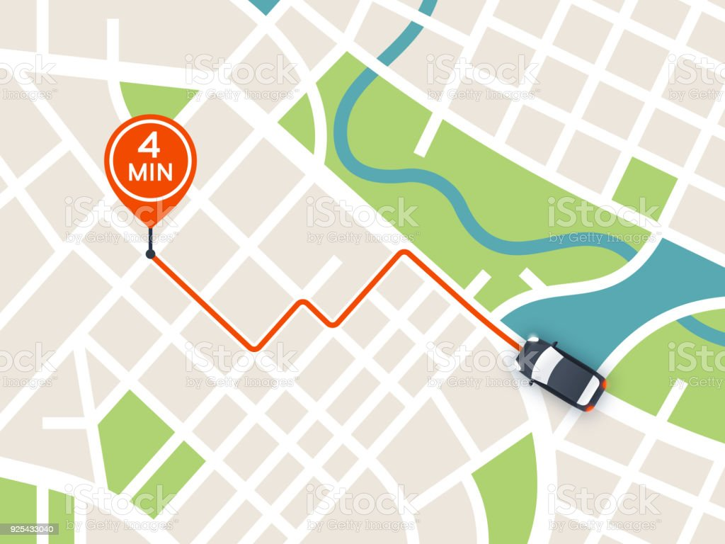 City Navigation Driving Map vector art illustration