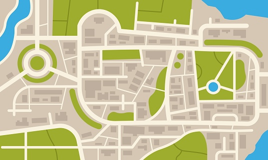 City navigation map. Flat plan of streets parks and river with top view, simple cartoon city map. Vector downtown pattern
