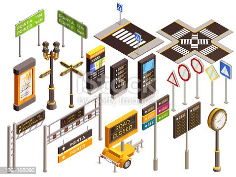 City navigation isometric elements set with isolated realistic images of street pedestrian and traffic signs images vector illustration