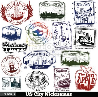 Series of stamps of US cities with their nicknames.