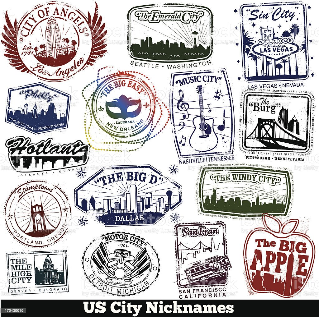 US City Nickname Stamps vector art illustration