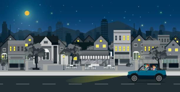 illustrations, cliparts, dessins animés et icônes de scène de nuit de la ville - voiture nuit