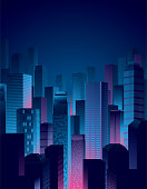 A simple and cool city night view in blue and pink colors.