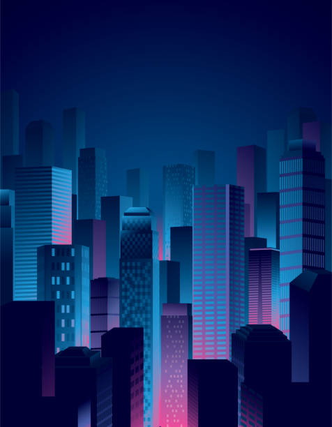 city night view in blue and pink colors A simple and cool city night view in blue and pink colors. cityscape stock illustrations