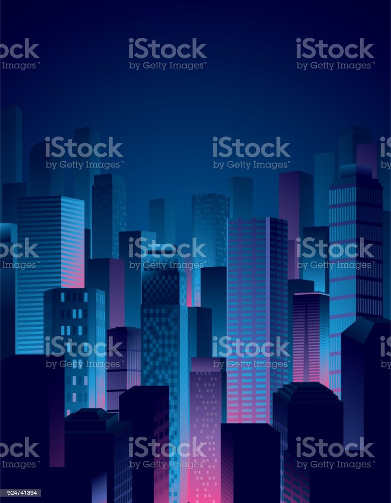 city night view in blue and pink colors vector art illustration