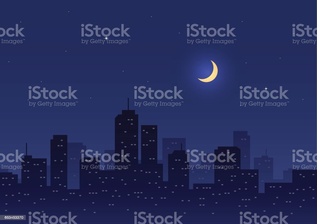City Night with Moon and Stars vector art illustration