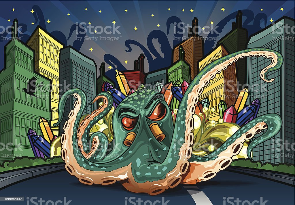 City night with octopus royalty-free city night with octopus stock vector art & more images of bird